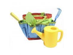 ➤Набор садовника ZHENJIE КТ-306 гусеница грабли лопатки поливалка сумочка для ребёнка