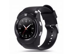 ✩Смарт-часы UWatch V8 Black IPS круглый экран 1,22 дюйма USB 3.0 батарея 280мАч Android сенсор+кнопки шагомер
