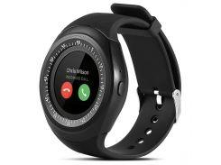 ✱Смарт-часы UWatch Y1 Black круглый экран Bluetooth диагональ 1.3 дюйма сенсор+кнопки USB 2.0 Батарея 380 mAh