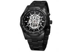 ✱Мужские часы Winner 486 Black с стальным ремешком нержавеющие влагозащищенные стильный аксессуар для мужчин
