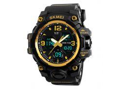 ☀Спортивные часы SKMEI 1155B Gold с двойным дисплеем указателем стальной корпус влагозащищенные мужские
