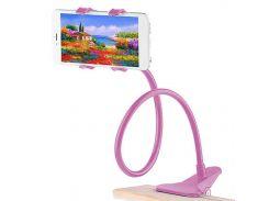 ➘Универсальный держатель Lesko 360 Pink для смартфона гибкий с вращающимся корпусом с прищепкой