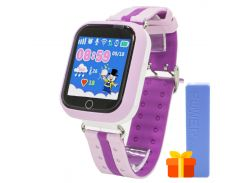 """★Смарт-часы UWatch Q100S Pink для детей 1.54"""" GPS трекером Bluetooth сенсорный цветной экран Кнопка SOS"""