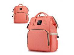 ☇Сумка рюкзак для мам Maikunitu Mummy Bag Peach для прогулок влагостойкая ткань USB зарядка термокарманы
