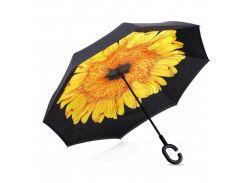 ☚Зонт Up-Brella Цветок Желтый двусторонний двойной купол обратное сложение умный зонт антизонт