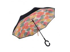 ☛Женский зонт наоборот Up-Brella Кленовый лист обратного сложения умный зонт антизонт двойной купол