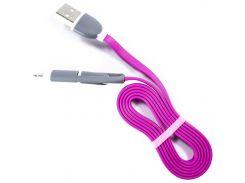 ✖Кабель USB 2.0 microUSB-Lightning/USB Розовый для подключения Iphone
