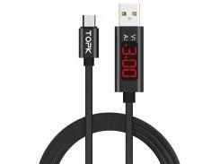 ✳Кабель синхронизации Topk Display USB 1m 2.4A (TK27U-VER2) MicroUSB Black быстрая передача данных
