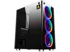 ✯Компьютерный корпус 1stPlayer X2-R1 Color LED Black закаленное стекло Miditower microATX для ПК