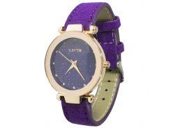 ★Часы женские LSVTR Fashion Purple наручные с дизайнерским стеклом кварцевый механизм