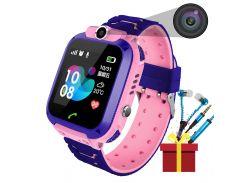 """Смарт-часы детские Smart Baby Watch Q12 Pink диагональ 1.44"""" сенсор с камерой GPS ответ на звонки 400 мАч"""