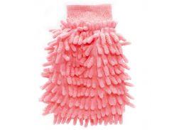 Рукавица для мытья авто Lesko 45-2A/008 Pink бережное очищение мойка машины сухая/влажная уборка