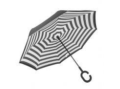 ➤Умный зонт обратного сложения Lesko Up-Brella Черно-белые полосы двойной купол смарт зонт ветрозащитный