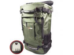 Рюкзак-сумка дорожная для путешествий KAKA 2050 D Green туристический кодовый замок 40л трансформер