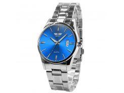 Часы SWIDU SWI-021 Silver + Blue мужские защита стальные наручные с кварцевым механизмом