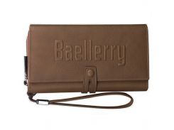 ➤Кошелек для мужчин Baellerry GUERO S1393 Brown для хранения кредитных карт монет на змейке мужской