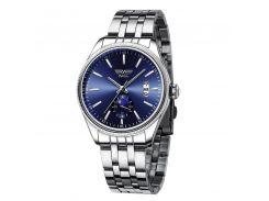Часы мужские SWIDU SWI-028 Silver + Blue из нержавеющей стали модные для мужчин с кварцевым механизмом