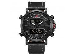 Часы мужские NAVIFORCE NF9135 Black наручные спортивные кварцевые с двойным дисплеем электронные