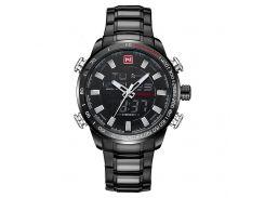 Часы мужские NAVIFORCE 9093 Black кварцевые стальной ремешком элитные нержавеющая сталь спортивные наручные