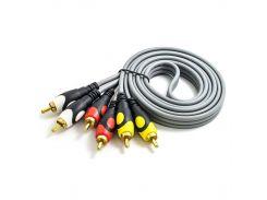 Кабель Lesko 3RCA-3RCA 1.5м аудио видео кабель тюльпан 3RCA тюльпана на 3RCA тюльпана audio video cable