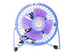 ✓Портативный мини-вентилятор Fan Mini Sanhuai A18 Blue + Purple высокая скорость лопостей питание от USB