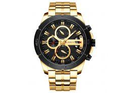 Часы мужские CURREN 8337 Gold наручный для мужчин стильный аксессуар кварцевые влагозащищенные