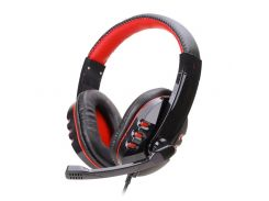 Проводная гарнитура SOYTO SY733MV Черно-Красная игровая для компьютера с микрофоном USB мультимедийная