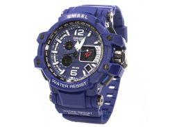 ✥Мужские часы Smael 1509 Blue наручные спортивные влагозащищенные светодиодные электронные двойное время