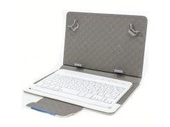 """☀Чехол Lesko 7"""" + kayboard WL White обложка с беспроводной клавиатурой Блютуз надежный магнит для планшета"""
