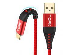 Кабель синхронизации Topk (TK42C-VER2) Type-C Red USB 1m 3A нейлоновый для быстрой передачи данных