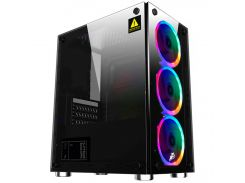 ✯Компьютерный корпус 1stPlayer X2-R1 Color LED Black закаленное стекло Miditower microATX для ПК