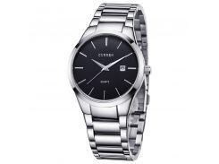 Наручные часы CURREN 8106 Silver + Black стальной ремешок кварцевый механизм фирменные влагозащищенные