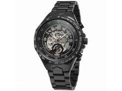 Стильные часы Winner Bussines Black мужские механические круглые нержавеющий стальной ремешок