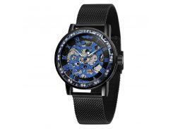 Часы мужские Winner Diamonds mesh W0905 Black + Blue наручные механические со скелетон металлические