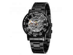Наручные часы мужские Winner Fashion Diamonds W614 Black с стразами скелетон стальные