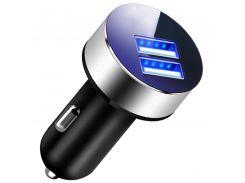 Автомобильное зарядное устройство Rosekey USBx2 Grey от прикуривателя 12-24В
