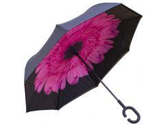 Зонт наоборот Up-Brella Цветок Розовый двойной купол обратное складывание антизонт ветрозащитный