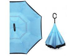 Смарт зонт наоборот Up-Brella Голубой однотонный брендовый обратного сложения антизонт