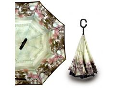 Зонт наоборот Up-Brella Старый город с рисунком умный смарт зонт обратного сложения от ветра и дождя