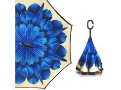 Зонт наоборот Up-Brella Хризантема Синяя женский с рисунком механический зонт-трость антизонт