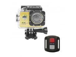 "Экшн-камера Lesko F60R Yellow LCD 2"" Waterproof 30М 4K Ultra HD Wi Fi HDMI 900mAh пульт с боксом Action camera"