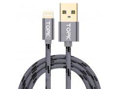 Кабель синхронизации Topk Llightning Gray USB 2m 3A нейлоновый для зарядки устройств