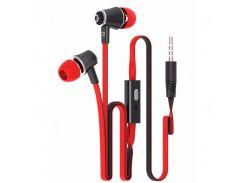 Гарнитура LANGSDOM JM-21 Красная вакуумная с плоским кабелем музыкальная jack 3.5