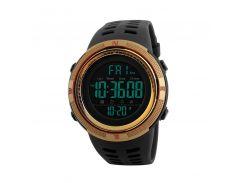 Часы мужские SKMEI 1251 Black + Gold электронные влагозащищенные нержавеющая сталь круглый дисплей спортивные