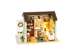 3D Румбокс кукольный дом DIY Cute Room 8008-D Гостиная с верандой и камином детский конструктор
