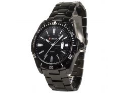 Часы CURREN 8110 Black влагозащищенные стальные нержавеющая сталь кварцевый механизм мужские