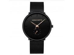 Часы мужские Hannah Martin 2140 Black наручные с сетчатым ремешком из нержавеющей стали