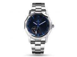 Часы мужские T-WINNER W090907 Silver наручные с стальным ремешком светящиеся скелетон