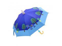 Детский зонт Lesko QY2011301 Blue Horse (лошадка) трость для детей автоматический с пластиковым чехлом