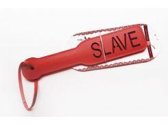 Пикантные штучки Шлепалка с рельефной надписью SLAVE, красная
